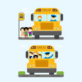 School bus kids transport vector illustration. Stock Images