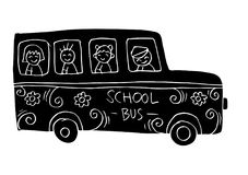 School bus with kids. White background Royalty Free Stock Image