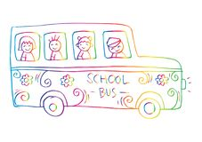 School bus with kids. White background Stock Image