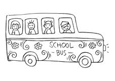 School bus with kids. White background Stock Photography