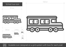 School bus line icon. School bus vector line icon isolated on white background. School bus line icon for infographic, website or app. Scalable icon designed on Royalty Free Stock Images