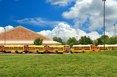 School Bus Lineup In Spring Stock Images