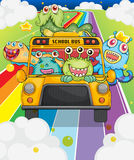 A school bus with monsters Stock Photography