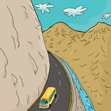 School Bus In Mountains. Cartoon of single school bus on winding highway in mountains Stock Photo