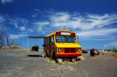 School Bus Oasis. School Bus Used as Snack Shack On North Shore of Maui Stock Photos