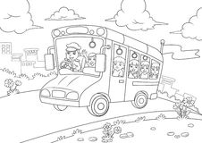 School bus outline for coloring  book Stock Photos