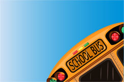 School bus over blue sky Royalty Free Stock Images