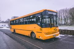 School bus parked during Storm Emma, also known as the Beast from the East. stock photo