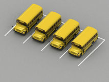School bus parking Orthographic view. 3d rendering Stock Photo