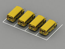 School bus parking Orthographic view. 3d rendering Royalty Free Stock Photo