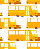 School bus pattern. Yellow bus for transportation of children.  Royalty Free Stock Photo