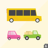 School bus, pink car and pickup truck Royalty Free Stock Images