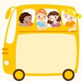 School bus. Place for your text. School schedule. Place for your text on a yellow school bus Stock Images