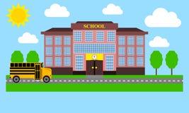 School bus rides to school Royalty Free Stock Photo