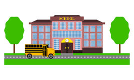 School bus rides to school Stock Images