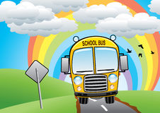 School bus on the road Stock Photo