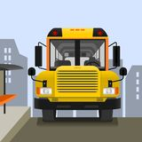 School Bus on Road. Editable School Bus on Road Vector Illustration with Cityscape Background stock illustration