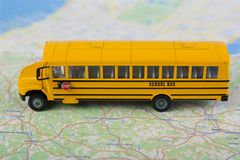 School bus and road map. Stock Image