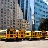 School bus row at San Francisco market photo mount Stock Images