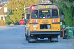 School Bus in Rural Canada stock images