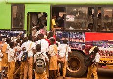 School bus rush. Students rushing into an over-crowed school bus in Nigeria, Africa Stock Photos