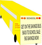 School bus with sale sign Royalty Free Stock Image