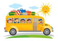 School bus school trip cartoon. Cartoon of yellow School bus traveling on a school trip. Vector available Stock Image