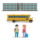 School bus and schoolchild vector flat illustration on white background. School bus school bus and schoolchild vector illustration on white background Royalty Free Stock Images