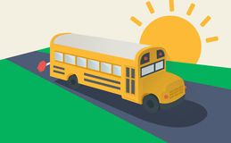School bus, side view. Classic school bus. Simple Flat Vector Illustration Royalty Free Stock Image