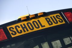 School Bus Sign. A new style North American school bus sign stock photos