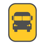 School bus sign yellow map pointer vector. Bus vector icon yellow map pointer. Modern public simple school transport sign. Transportation stop navigation Stock Photos