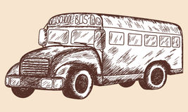 School bus sketch. EPS 10 vector illustration without transparency Royalty Free Stock Photo