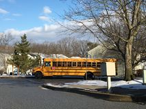 School bus after snow royalty free stock photos