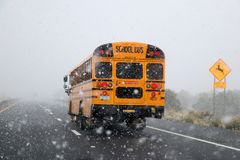 School bus in snow storm.