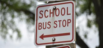 Free School Bus Stop Stock Photos - 150688673