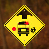 School Bus Stop Ahead Sign. With copy space stock photography