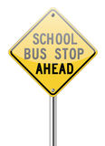 School bus stop ahead sign. On white Stock Photo