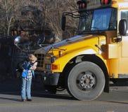 School bus stop stock photo