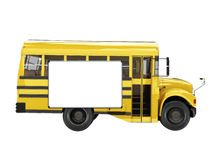 Short school bus with advertisement   Stock Photos