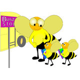 School Bus Stop Illustration Royalty Free Stock Image