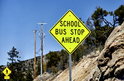 School Bus Stop Road Sign Royalty Free Stock Images