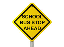 School Bus Stop Sign. Ar oad warning sign isolated on white with words school bus stop ahead Stock Photography