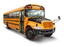 School Bus. For student transport service for elementary and high school students with a yellow and black painted vehicle as an education symbol of safe Stock Image