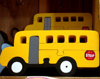 School bus toy. Bright yellow school bus toy Stock Photo