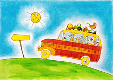 School bus trip, child's drawing, watercolor painting