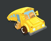 School bus vector illustration. Empty yellow waits for children, funny Stock Image