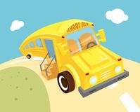 School bus vector illustration. Empty yellow waits for children, funny Stock Photography