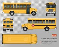 School bus vector mockup. School bus vector mock-up. Isolated template of yellow autobus on transparent background. Vehicle branding mockup, view from side Royalty Free Stock Photo