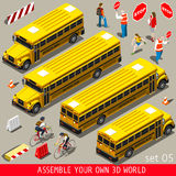 School Bus Vehicle Isometric Royalty Free Stock Photo