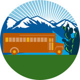 School Bus Vintage Cactus Mountains Circle Retro. Illlustration of a vintage school bus viewed from the side with cactus, mountains and sunburst in the Stock Photography